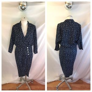 Vintage Scarlett ILGWU Print Button Up Wrap Dress